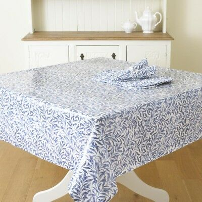 William Morris Willow Bough Blue Pvc / Oilcloth Floral Fabric By The Half Metre