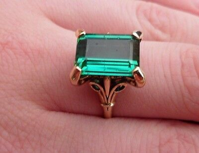 Vintage 18ct Gold Emerald Ring Size L 1/2
