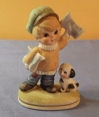 Vintage Lefton Ceramic Boy Selling Newspapers with Puppy Figurine