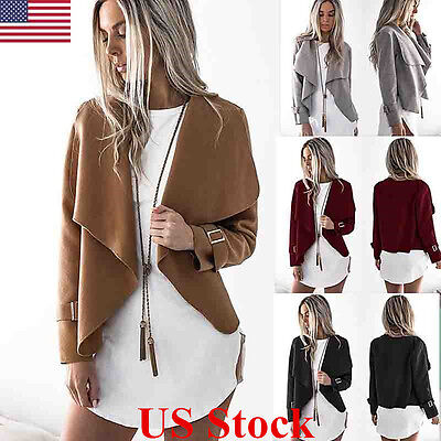 US Womens Knitted Long Sleeve Outwear Jumper Casual Tops Cardigan Plus Size Coat