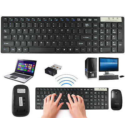 Slim 2.4GHz Black Wireless Keyboard & Cordless Mouse Combo Set For PC Laptop
