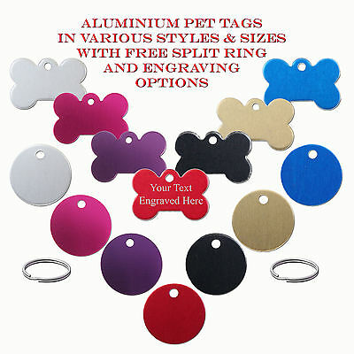 Aluminium Pet ID / Dog Identity Tags & Split Ring - Engraved / Engraving Options