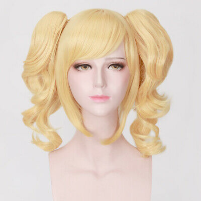 35cm Lady Curly Golden Hair Wigs with Ponytail Bangs Cosplay Costume Party