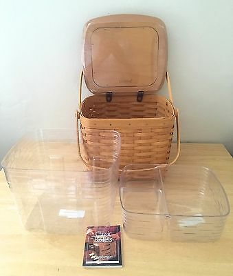 """New Longaberger """"weekender"""" Picnic Basket- With 2 Stackable Inserts"""
