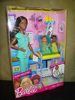 Brand New Barbie Doll Baby Doctor Barbie With Twin Babies African American