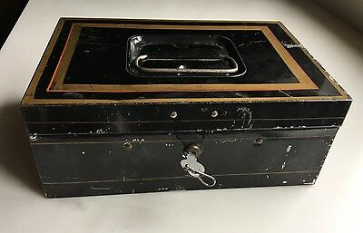Antique Vintage Early Tin Metal Document Cash Box with Key