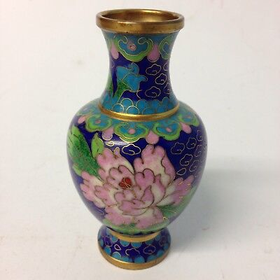 Vintage Small Chinese Brass Cloisonné Vase With Floral Decoration 10cm Tall