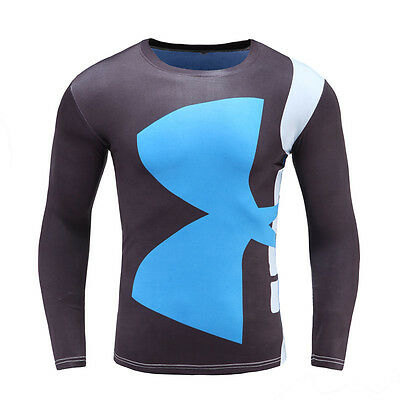 Mens compression shirt, under armour long sleeve fitness shirt, Rash guard shirt
