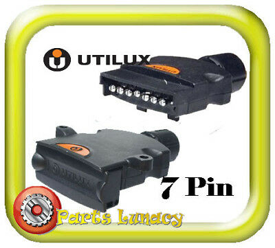 UTILUX 7 Pin Trailer Connector BASE & PLUG - Standard FLAT Plastic