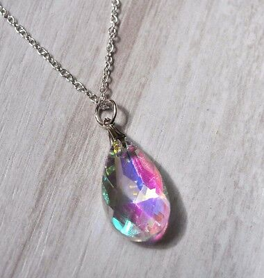 925 Silver Austrian Crystal AB 2cm Teardrop Necklace Pendant ladies  Girls Gift