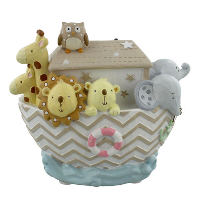 Noahs Ark Resin Money Box Bank Boat & Animals Children`s Or Baby`s Nursary Gift