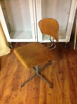 Adjustable Vintage Metal Swivel Machinist Desk Chair Industrial