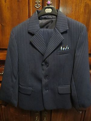 Platinum-Boys-3Pc Suit-Size 5-Dark Blue W/blue Pin Stripe-Jacket/vest/pants-Guc
