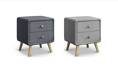 Modern Design 2 Drawer Bedside Table  Finished in Linen Fabric Upholstery