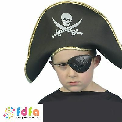 KIDS BLACK PIRATE CAPTAIN HAT SKULL & CROSSBONES childs boys fancy dress costume