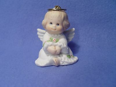 Enesco Morehead Holly Babes Angel Christmas Ceramic/Bisque Ornament 1984