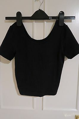 American Apparel Black Scoop Crop Top Tee Size S  Festivals Grunge