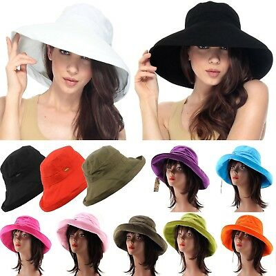 Women's Cotton Beach Floppy Hat Wide Brim Foldable Cloche Bucket Summer Sun Cap