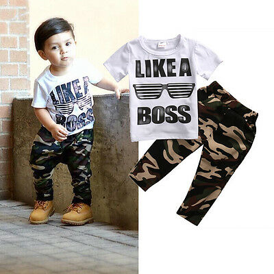 AU Stock Newborn Kids Baby Boy T-shirt Tops+Long Pants Outfits Tracksuit 1-5Year