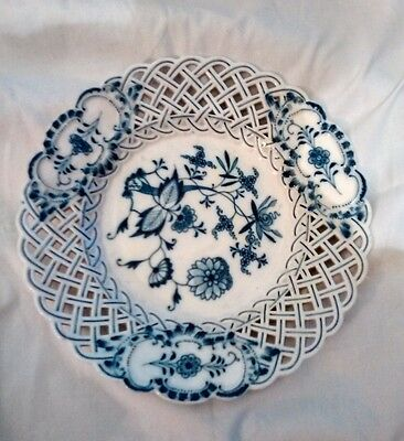 Antique Meissen Reticulated Blue Onion Pattern Plate  24cm