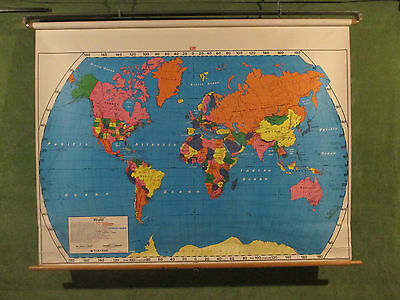 """World School Classroom Wall Map Nystrom Spring Operated 65"""" WIDE!  USSR"""