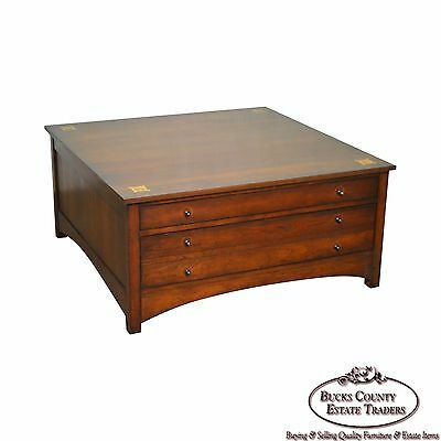 Stickley Harvey Ellis Cherry Square Cocktail Coffee Table w/ Drawers
