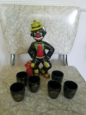 Very Unique Vintage Thames Black Americana hand-painted clown decanter and cups