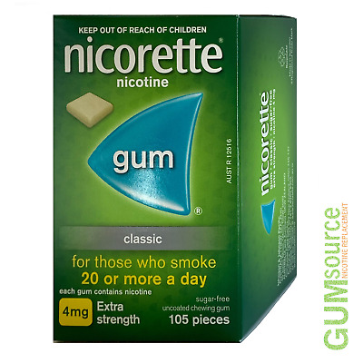 Nicorette 4mg CLASSIC  2 boxes 210 pieces Nicotine Quit Smoking Gum
