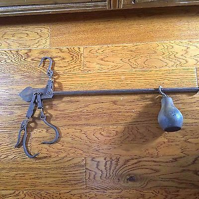 Antique Cast Iron Bar Scale Hanging 150 lbs Meat Hay Farmers Vintage