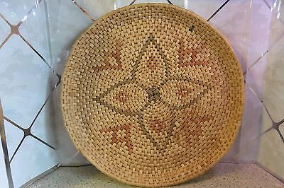 """Wedding Plaque 15"""" Tray Hand Woven Basketry Star Native American Indian Basket"""