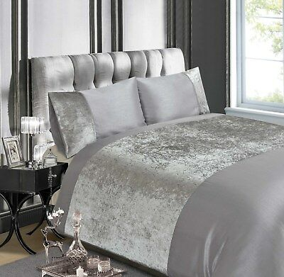 Rapport Luxury Crushed Velvet Quilt Cover Silver / Bedding Set FREE P&P