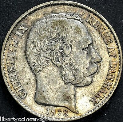 1878 Danish West Indies 20 Cent - Christian IX - AU+ Condition!! KM#71