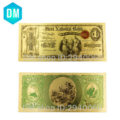 One Dollar American Paper Money 1875 Year Gold Foil Currency Bank Note Collect