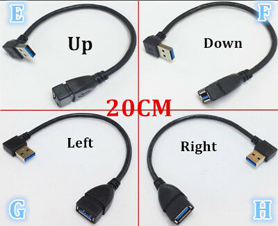 USB 3.0 Male A to Female A 90 Degree Extension Data Cord Cable Adapter R/L HDMI