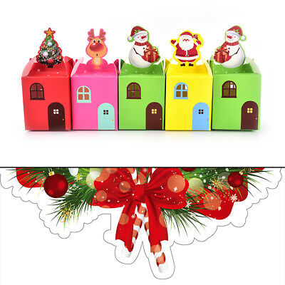 5pcs Xmas Gift Wrapping Boxes Christmas Eve Apple Box Candy Boxes Party Boxes