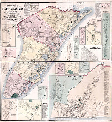 1872 Map of Cape May County New Jersey LARGE 35 x 38 Map