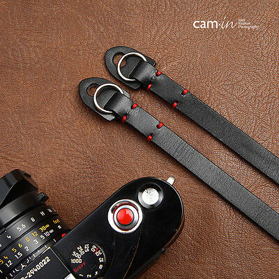 Leather Camera Strap with ring connection by Cam-in - Black