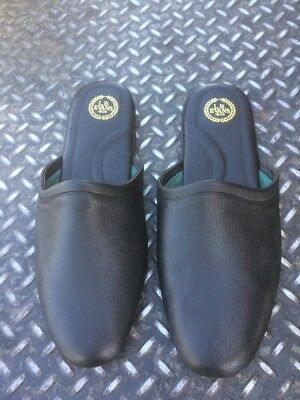 Lb Evans Black Leather Scuff Slippers Mens 15