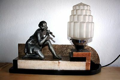 GEORGEOUS ART  DECO SCULPTURE TAMBLE LAMP by GEO MAXIM FRANCE