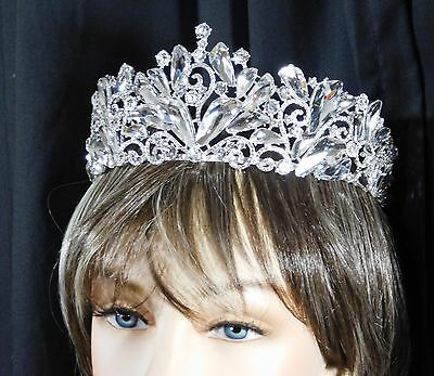 Wedding Clear Rhinestone Crystal Beauty Queen Large Tiara Crown Bridal Pageant