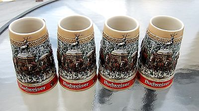 Lot of 4 Budweiser 1986 C Series beer steins, Anheuser Busch Clydesdale. NOS
