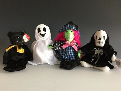4 Halloween Collection Ty Beanie Babies Haunt Sheets Creepers Scary