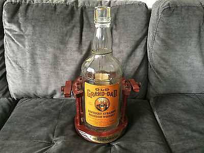 Vintage OLD GRAND-DAD Kentucky Straight Bourbon Whiskey Bottle w/ Display Stand