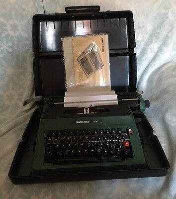 Vintage Retro Silver Reed 500 Typewriter with Case 1970's, Working, Period Green