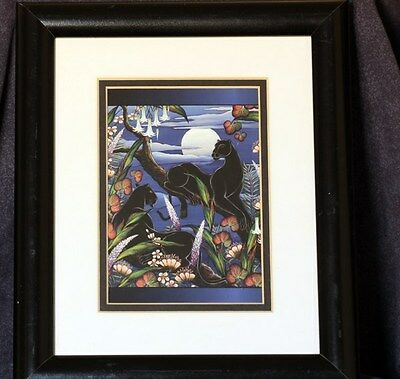 Panther Wild Animal print of two panthers in a tree w/full moon, framed