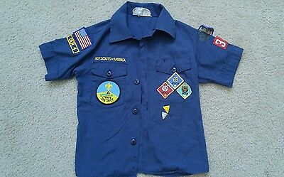 BSA Cub Boy Scouts Of America Youth S Small Uniform Shirt Short Sleeve Blue NICE