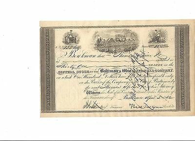 Early B&O Railroad Stock Certificate signed by Thomas Swann -1852