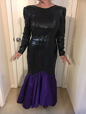 Vintage Giorgio black sequined evening gown with purple taffeta bottom