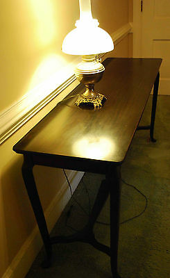 Antique Queen Anne Style Mahogany Long Sofa Table Console Hall Foyer Narrow