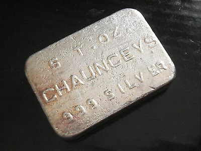 Chaunceys Liberty Mint 5 oz .999 Old Poured Silver Bar 1974